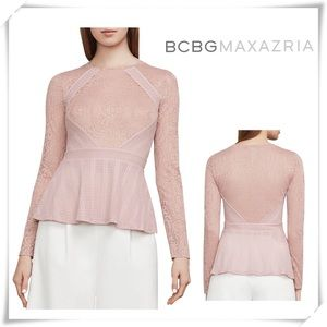 BCBGMaxAzria BARE Pink Capri Lace a Peplum Top